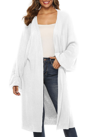 V-neck Long Solid Cardigan
