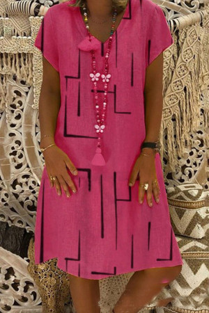 V-Neck Print Maxi Dress