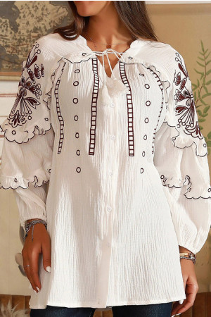 V-Neck Ruffle Embroidered Blouse