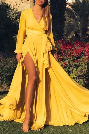 V-neck Satin Slit Dress