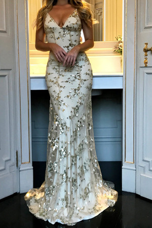 V-neck Sequins Prom Dress