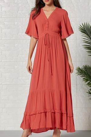 V-neck Tassel Ruffle Maxi Dress