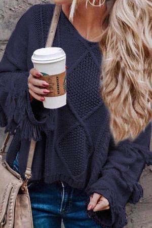V-neck Tasseled Knit Sweater