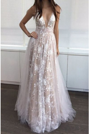 V-neck Tulle Lace Long Dress