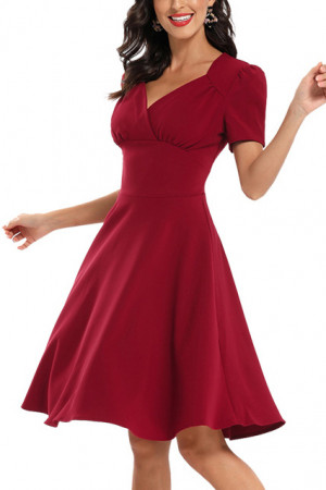 Vintage V-neck Wrap Dress
