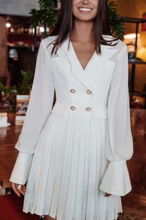 White Buttoned Work Dress