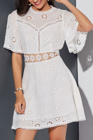 White Cutout Lace Panel Dress