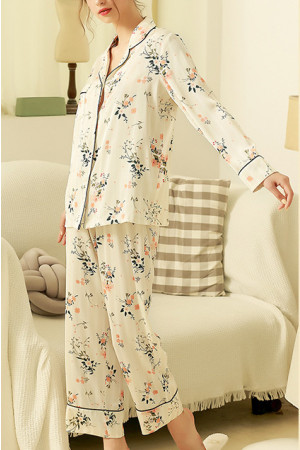 White Floral Print PJ Set