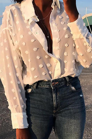 White Jacquard Lapel Shirt