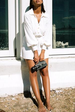 White Lace-up Pocket Ribbed Dress