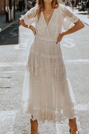 White Lace Vacation Dress
