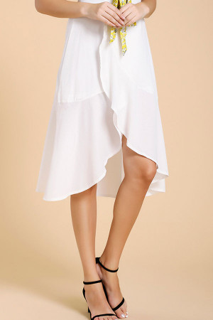 White Ruffled Fishtail Skirt