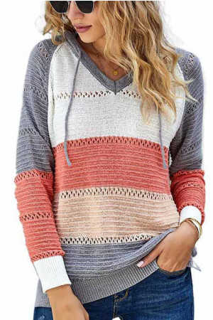 Women Fashion Knitted Striped Hoodie