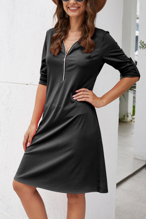 Zip Front V-Neck Dress