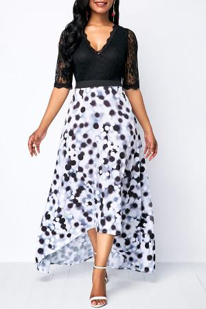 V-neck Lace Patchwork Dress