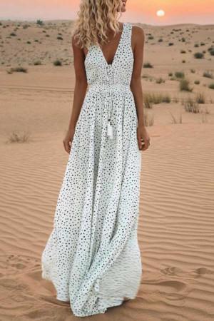 Polka Dot Print Beach Dress