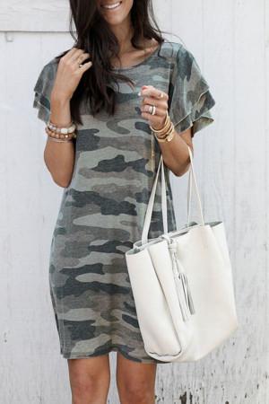 Scoop Camouflage Tee Dress