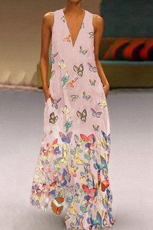 Butterfly Print Boho V-neck Maxi Dress