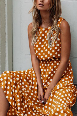 Polka Dot Round Neck Swing Dress
