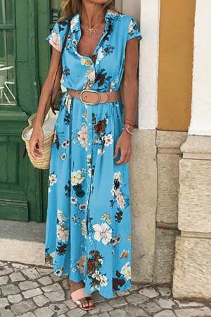 Vintage Floral Belt Shirt Dress