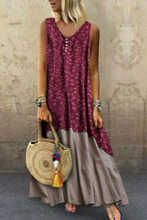Boho Buttons Sleeveless Tunic Dress