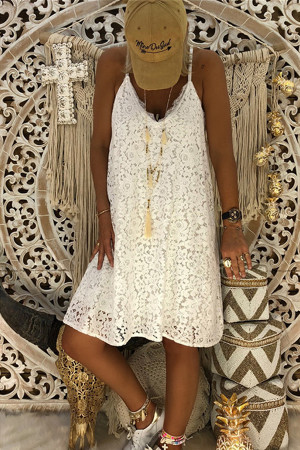 V-neck Sleeveless Lace Dress
