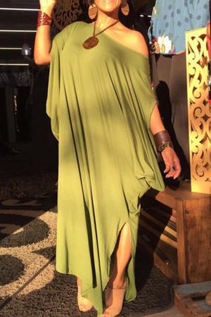 Solid Slit Asymmetric Tee Dress