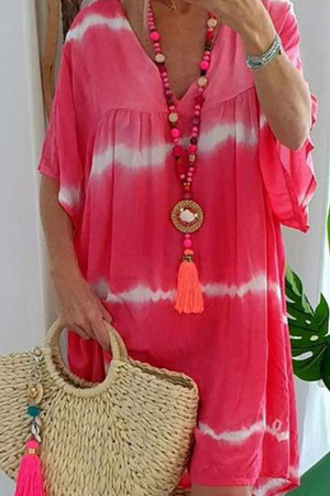 Casual V-neck Tee Dress