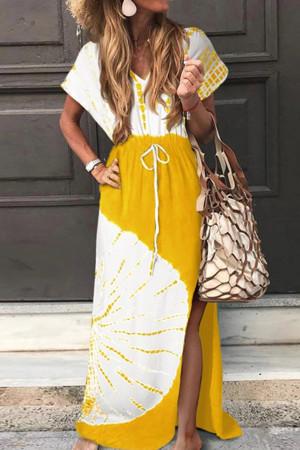 V-neck Slit  Smocked Printed Dress