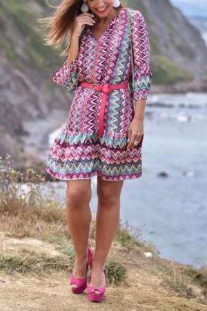 V-Neck Print Boho Dress