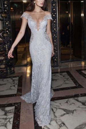 Backless Deep V-neck Lace Dress
