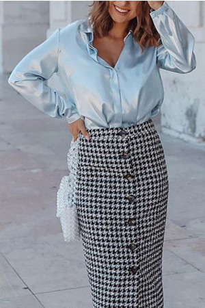 Plaid Buttons Front Skirt