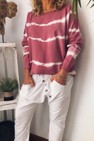Casual Striped Scoop T-shirt