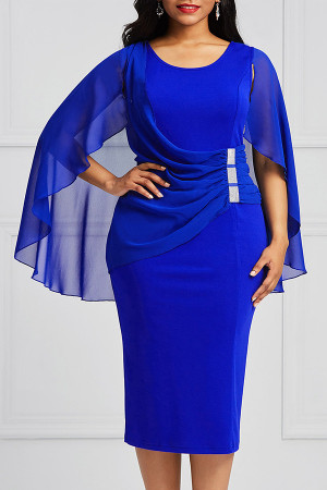 Ruffled Shawl Slim-fit Dress