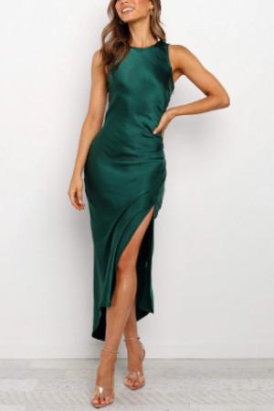 Side Zipper Thigh Split Dress