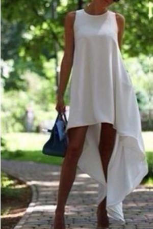 Solid Asymmetric Zipper Back Dress