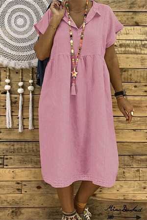 Collar Solid Tunic Dress