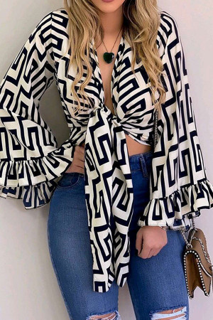 Long Sleeve Lace-up Print Blouse