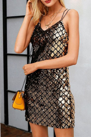 Backless Sequins Mini Dress