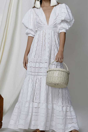 White Puff Sleeve Hollowed Dress
