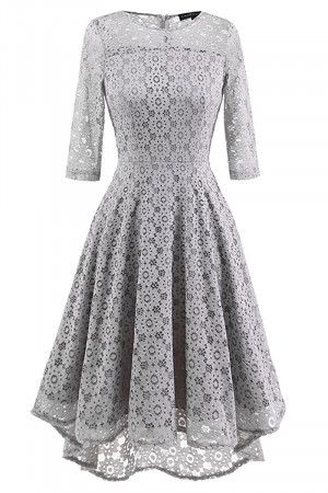 Lace Scoop Homecoming Dress