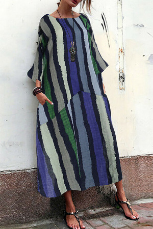 Vintage Striped Pockets Tunic Dress