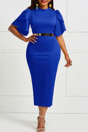 Ruffled Belt Slim-fit Dress