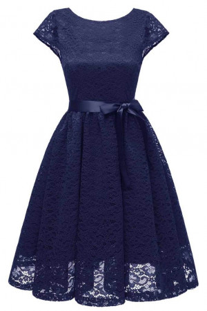 Scoop Lace Belt Homecoming Dress