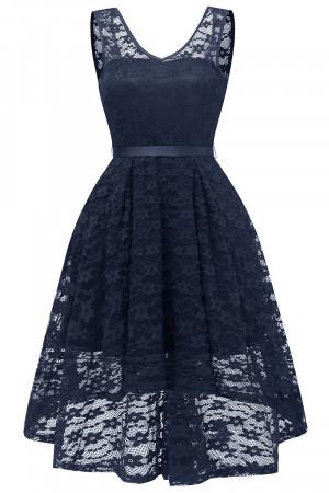 V-neck Lace High Low Short Dress