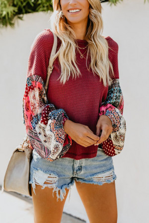 Scoop Patchwork Print Blouse