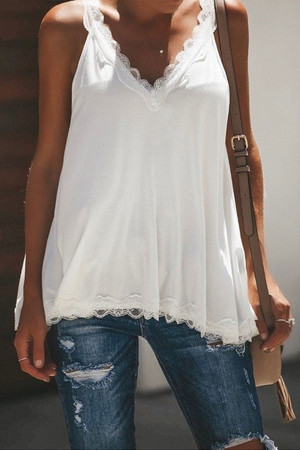 Casual Lace Solid V-neck Tank Top