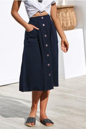 Elastic Waist Buttons Skirt