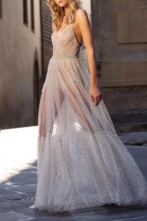 Sparkly Plunging V-neck Cami Dress