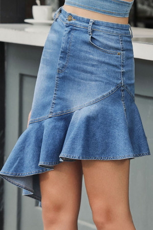 Asymmetrical Ruffle Denim Skirt